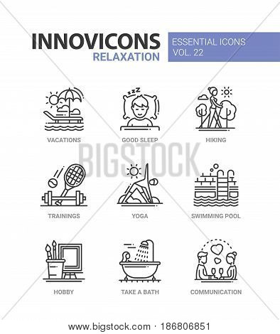 Relaxation - modern color vector single line icons set. Vacation, good sleep, hike, train, yoga, tennis, swimming pool, hobby, take a bath, communication, dinner