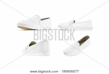 Blank white slip-on shoe mock up set isolated 3d rendering. Plain hipster slipon mockup template stand front profile side back view. Urban skate shoes with clear label presentation.