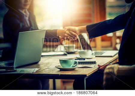 Business People Shaking Hands With Each Other. Successful Businessmen On Corporate Meeting .