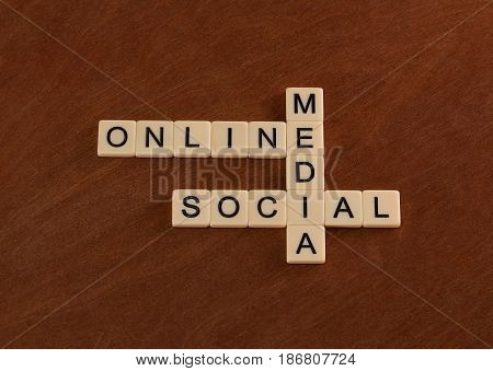Crossword Puzzle With Words Online, Social, Media. Digital Marketing Concept.