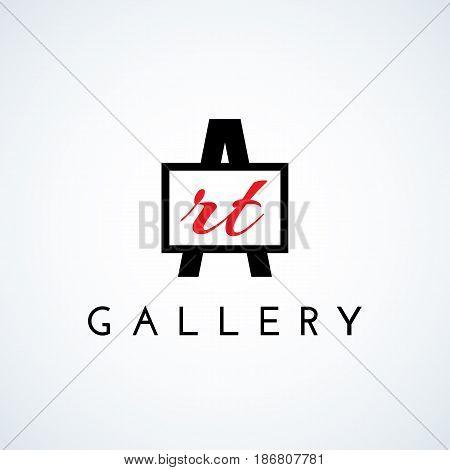 Logo design template for art gallery art studio school of the arts. Vector illustration.
