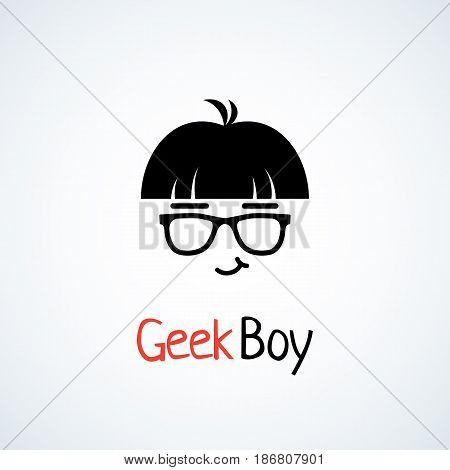 Geek logo design template with boy in glasses. Vector illustration.