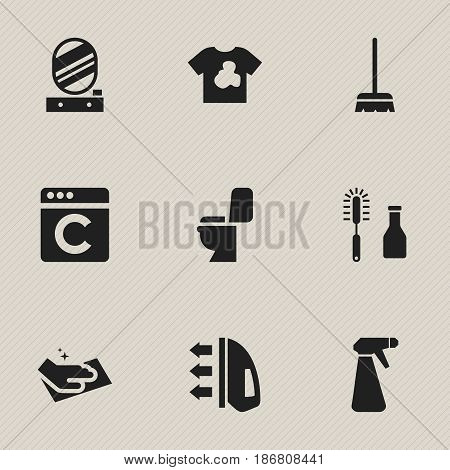 Set Of 9 Editable Hygiene Icons. Includes Symbols Such As Whisk, Restroom, Wall Mirror And More. Can Be Used For Web, Mobile, UI And Infographic Design.