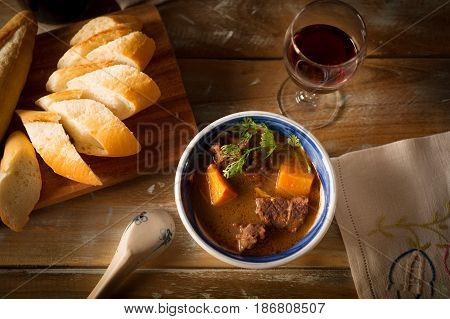 Vietnamese Cuising Beef Stew With Bread And Red Wine