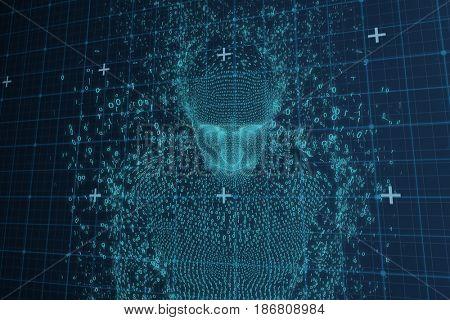 Close-up of pixelated 3D male against blue matrix