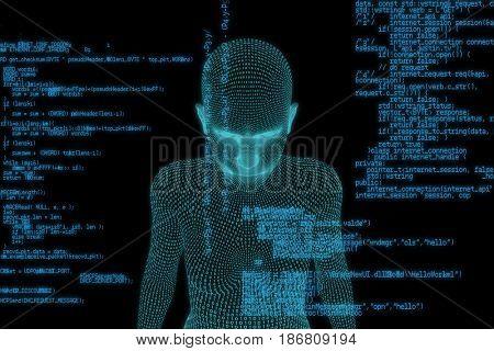 Close-up of digital 3d woman against blue programme