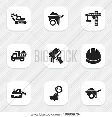 Set Of 9 Editable Construction Icons. Includes Symbols Such As Endurance, Mule, Hardhat And More. Can Be Used For Web, Mobile, UI And Infographic Design.