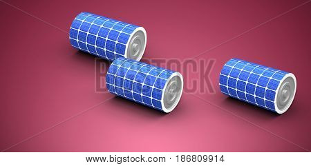 High angle view of 3d solar power battery against red and white background
