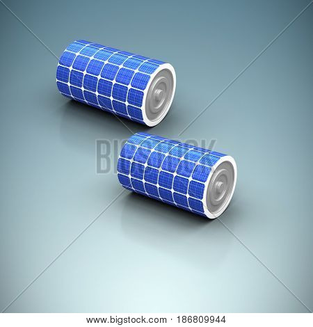 Digitally generated image of 3d solar battery against grey vignette