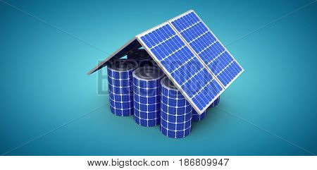 3d image of house model made from solar panels and cells against blue vignette background