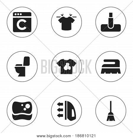 Set Of 9 Editable Dry-Cleaning Icons. Includes Symbols Such As Broomstick, Laundress, Clean T-Shirt And More. Can Be Used For Web, Mobile, UI And Infographic Design.
