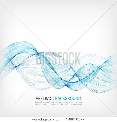 Abstract color wave design element. Blue wave.Transparent waves smoke