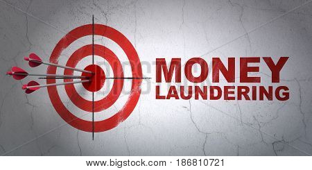 Success currency concept: arrows hitting the center of target, Red Money Laundering on wall background, 3D rendering