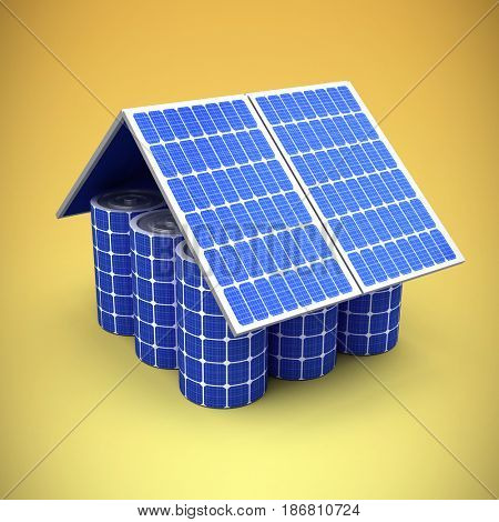 3d image of model house made from solar panels and cells against yellow vignette