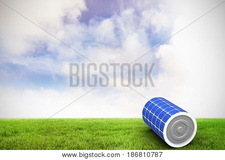 3d image of solar battery against blue sky over green field