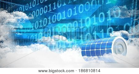 3d image of blue solar battery against clouds around binary codes