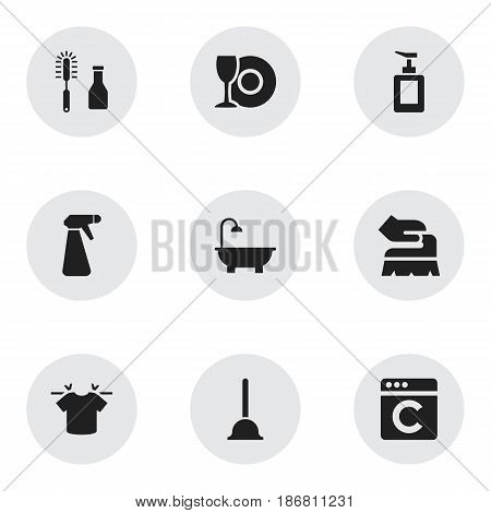 Set Of 9 Editable Cleaning Icons. Includes Symbols Such As Plate, Hand Sanitizer, Laundress. Can Be Used For Web, Mobile, UI And Infographic Design.