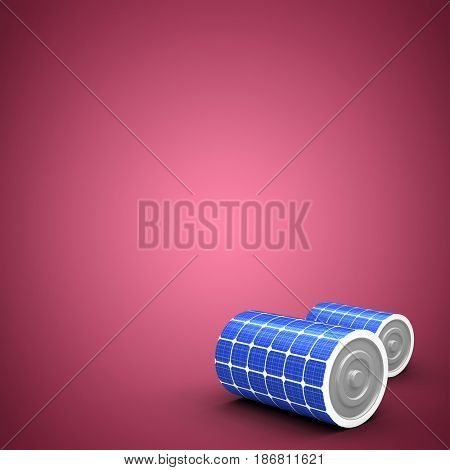 3d illustration of solar power battery against red and white background