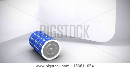 Vector image of 3d solar battery against abstract room
