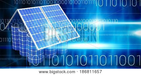 3d image of model house made from solar panels and cells against blue technology design with binary code