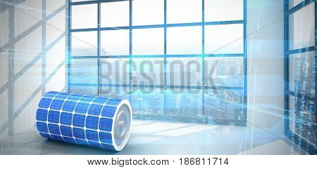 3d image of solar power battery against room with large window showing city