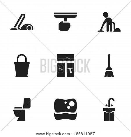 Set Of 9 Editable Cleaning Icons. Includes Symbols Such As Servant, Broomstick, Washing Glass And More. Can Be Used For Web, Mobile, UI And Infographic Design.