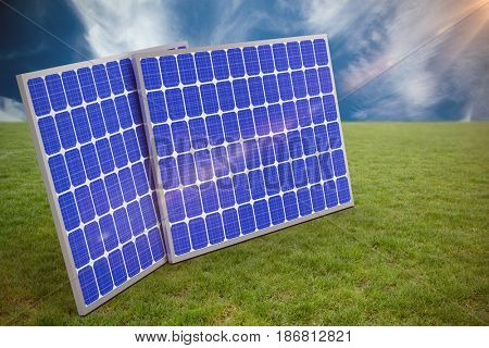 3d image of blue solar panels against blue sky with clouds