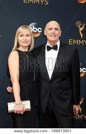 LOS ANGELES - SEP 18:  Kasia Ostlun, Jeffrey Tambor at the 2016 Primetime Emmy Awards - Arrivals at the Microsoft Theater on September 18, 2016 in Los Angeles, CA