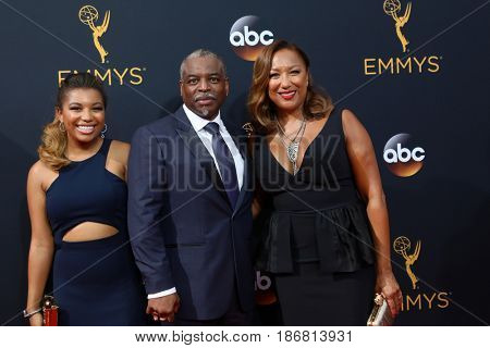 LOS ANGELES - SEP 18:  Michaela Jean Burton, LeVar Burton, Stephanie Cozart Burton at the 2016 Primetime Emmy Awards - Arrivals at the Microsoft Theater on September 18, 2016 in Los Angeles, CA