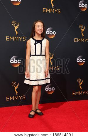 LOS ANGELES - SEP 18:  Aubrey Anderson-Emmons at the 2016 Primetime Emmy Awards - Arrivals at the Microsoft Theater on September 18, 2016 in Los Angeles, CA
