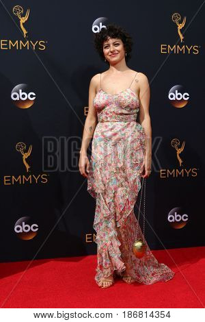 LOS ANGELES - SEP 18:  Alia Shawkat at the 2016 Primetime Emmy Awards - Arrivals at the Microsoft Theater on September 18, 2016 in Los Angeles, CA