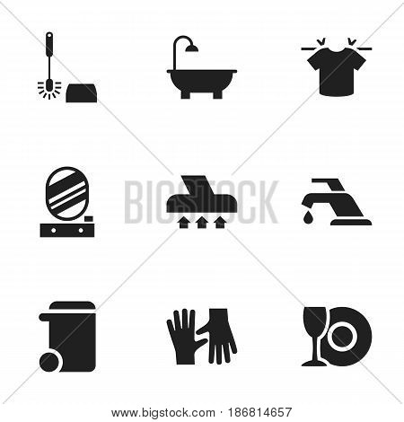 Set Of 9 Editable Hygiene Icons. Includes Symbols Such As Dustbin, Wc Cleaning, Clean T-Shirt And More. Can Be Used For Web, Mobile, UI And Infographic Design.