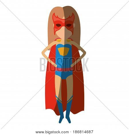colorful silhouette with superhero faceless woman flying with hands in your waist and shading vector illustration
