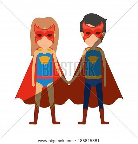 colorful silhouette with faceless duo of superheroes united of the hands and her with long hair with shading vector illustration