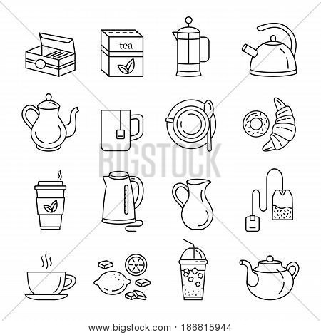 Tea icons. Outline web icon set. Kitchen appliances and various kinds of kettles. French press, electric kettle, milk jug, tea mug, tea box, tea bag, lemon, croissant and donut. Vector Illustration.