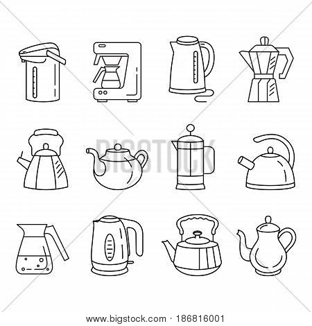 Outline collection of icons of kitchen kettles. Various types of kettles and teapots: electric kettle, French press, Thermopot. Trendy vector Illustration isolated for graphic and web design.