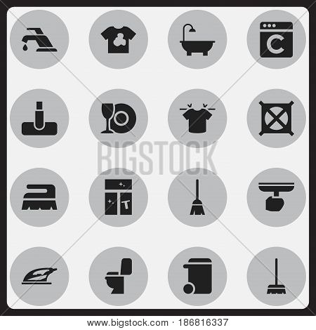 Set Of 16 Editable Hygiene Icons. Includes Symbols Such As Brush, Bathroom, Clean T-Shirt And More. Can Be Used For Web, Mobile, UI And Infographic Design.