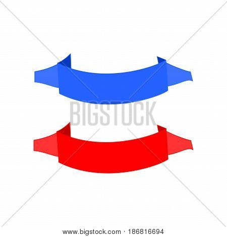 Banner red and blue. Emblem modern symbol of business. Set blank sticker labeling. Elegant form of the logo for sale. Colorful template for badge tag wrapping. Design element. Vector illustration