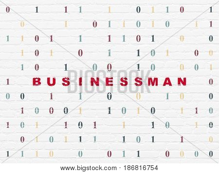 Finance concept: Painted red text Businessman on White Brick wall background with Binary Code