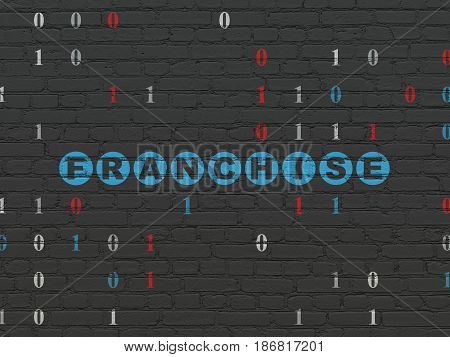 Finance concept: Painted blue text Franchise on Black Brick wall background with Binary Code