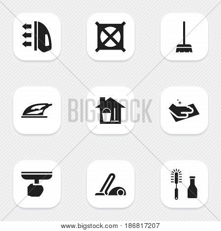 Set Of 9 Editable Cleanup Icons. Includes Symbols Such As Towel, No Laundry, Vacuum Cleaner And More. Can Be Used For Web, Mobile, UI And Infographic Design.