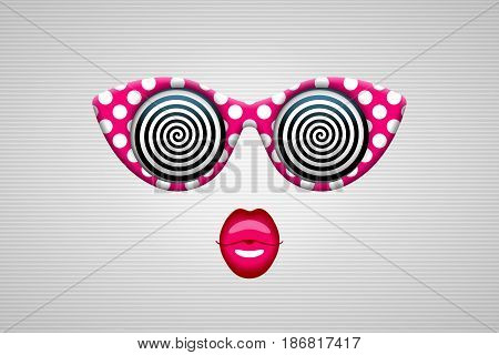 Glamorous sunglasses in retro style with hypnotic spiral patterns instead of glasses