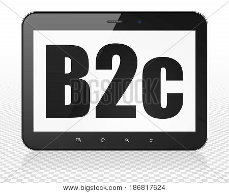 Business concept: Tablet Pc Computer with black text B2c on display, 3D rendering