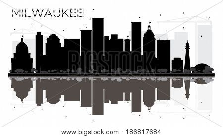 Milwaukee City skyline black and white silhouette with reflections. Simple flat concept for tourism presentation, banner, placard or web site. Cityscape with landmarks.