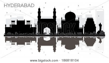 Hyderabad City skyline black and white silhouette with reflections. Simple flat concept for tourism presentation, banner, placard or web site. Cityscape with landmarks.