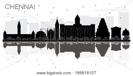Chennai City skyline black and white silhouette with reflections. Simple flat concept for tourism presentation, banner, placard or web site.