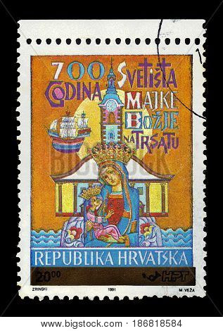 Croatia - CIRCA 1991: A stamp printed in Croatia shows Madonna and Child, the 700 Years of Sanctuary of Holy Mother of Trsat, circa 1991