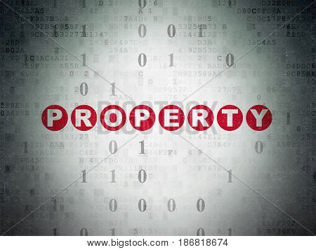 Business concept: Painted red text Property on Digital Data Paper background with Binary Code