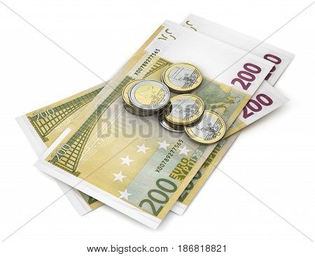 Euro banknotes with coins isolated over white with clipping path. 3d illustration
