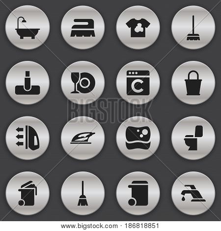 Set Of 16 Editable Hygiene Icons. Includes Symbols Such As Hoover, Container, Whisk And More. Can Be Used For Web, Mobile, UI And Infographic Design.